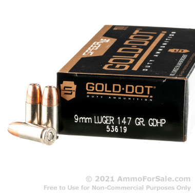 1000 Rounds of 147gr JHP 9mm Ammo by Speer