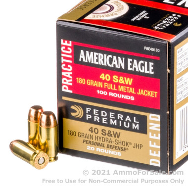 480 Rounds of 180gr FMJ/JHP Combo Pack .40 S&W Ammo by Federal
