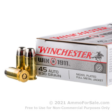 500  Rounds of 230gr FMJ .45 ACP Ammo by Winchester