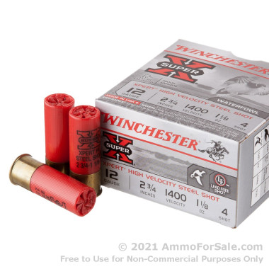 """25 Rounds of 2-3/4"""" 1 1/8 ounce #4 shot 12ga Ammo by Winchester Super-X Xpert HV"""