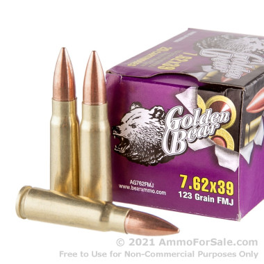 500  Rounds of 123gr FMJ 7.62x39mm Ammo by Golden Bear
