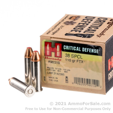 250 Rounds of 110gr JHP .38 Spl +P Ammo by Hornady
