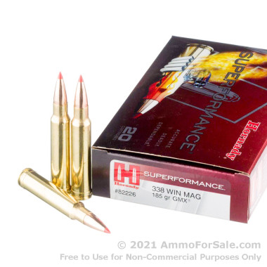 20 Rounds of 185gr GMX .338 Win Mag Ammo by Hornady Superformance