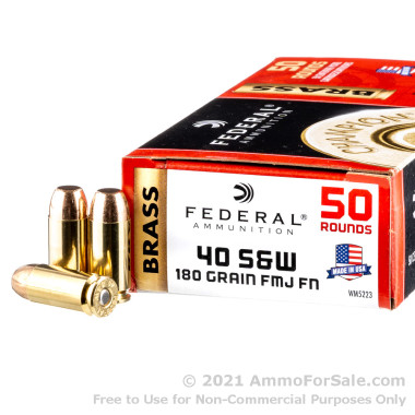 50 Rounds of 180gr FMJ .40 S&W Ammo by Federal