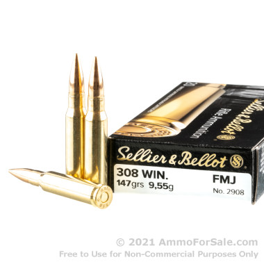 500 Rounds of 147gr FMJ .308 Win Ammo by Sellier & Bellot