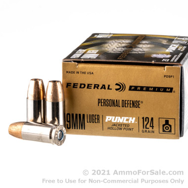 20 Rounds of 124gr JHP 9mm Ammo by Federal