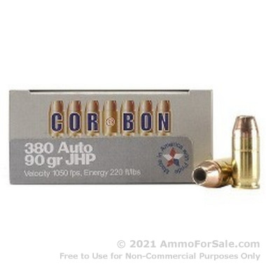 20 Rounds of 90gr JHP .380 ACP Ammo by Corbon