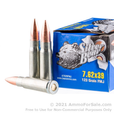 20 Rounds of 123gr FMJ 7.62x39mm Ammo by Silver Bear