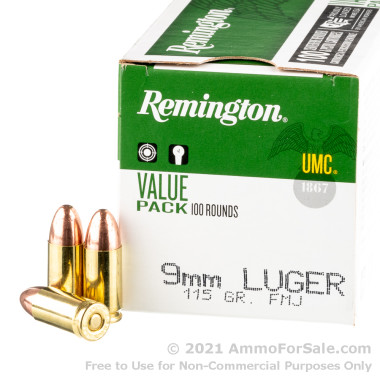 100 Rounds of 115gr MC 9mm Ammo by Remington