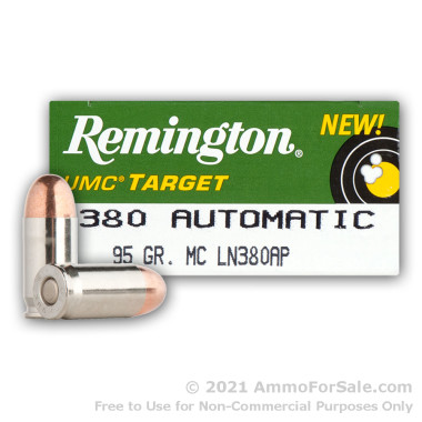 50 Rounds of 95gr MC .380 ACP Nickel Plated Ammo by Remington