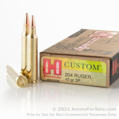 20 Rounds of 40gr SP .204 Ruger Ammo by Hornady