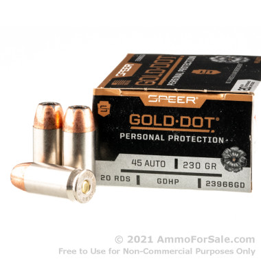 20 Rounds of 230gr JHP .45 ACP Ammo by Speer