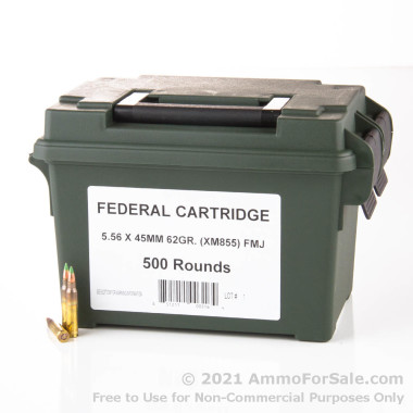 500  Rounds of 62gr FMJ 5.56x45 Ammo by Lake City