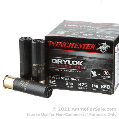 25 Rounds of 1 1/2 ounce BBB Shot 12ga Ammo by Winchester Drylok