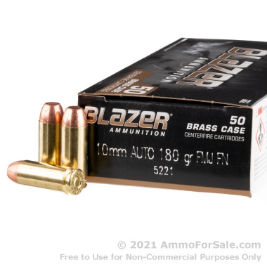 50 Rounds of 180gr FMJ 10mm Ammo by Blazer