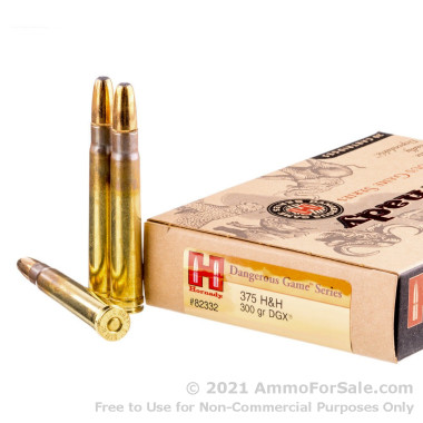 20 Rounds of 300 gr SP .375 H&H Mag Ammo by Hornady