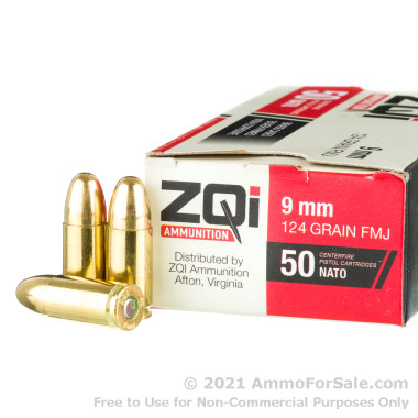 50 Rounds of 124gr FMJ 9mm NATO Ammo by ZQI