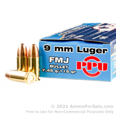 50 Rounds of 115gr FMJ 9mm Ammo by Prvi Partizan