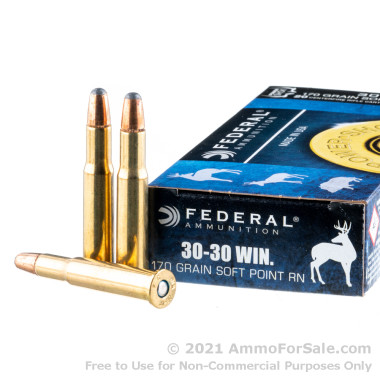 20 Rounds of 170gr JSP 30-30 Win Ammo by Federal