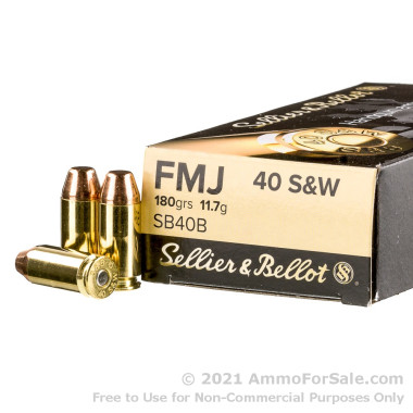 50 Rounds of 180gr FMJ .40 S&W Ammo by Sellier & Bellot