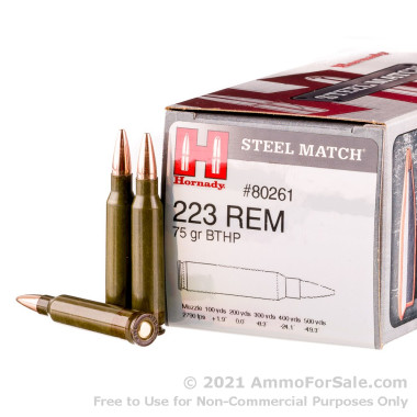 50 Rounds of 75gr HPBT .223 Ammo by Hornady Steel Match