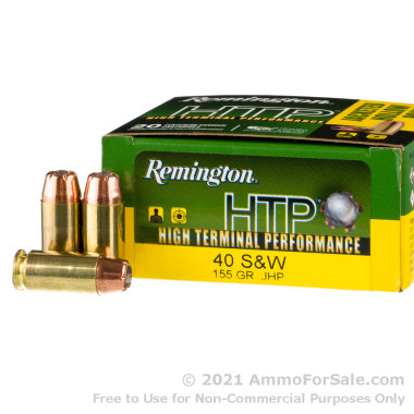 20 Rounds of 155gr JHP .40 S&W Ammo by Remington
