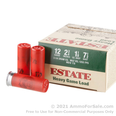 "25 Rounds of 2 3/4"" 1 1/8 ounce #7 1/2 shot 12ga Ammo by Estate Cartridge"