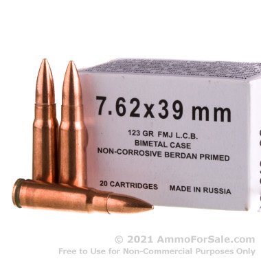 500 Rounds of 123gr FMJ 7.62x39 Ammo by Barnaul