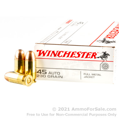 50 Rounds of 230gr FMJ .45 ACP Ammo by Winchester