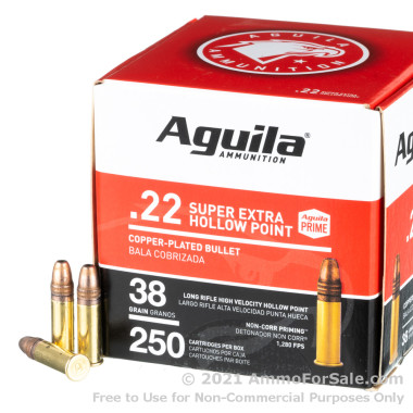 250 Rounds of 38gr CPHP .22 LR Ammo by Aguila