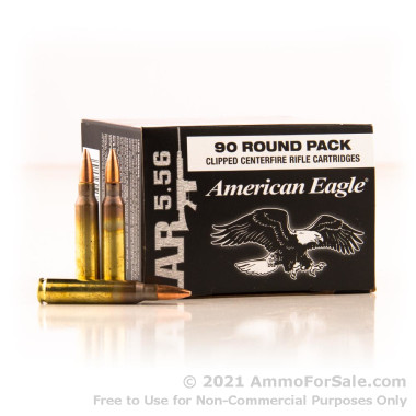 90 Rounds of 55gr FMJBT 5.56x45 Ammo by Federal