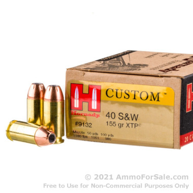 20 Rounds of 155gr JHP .40 S&W Ammo by Hornady
