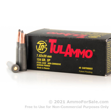 40 Rounds of 154gr SP 7.62x39mm Ammo by Tula