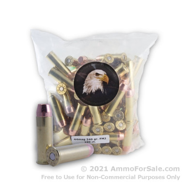 100 Rounds of 240gr FMJ .44 Mag Ammo by M.B.I.