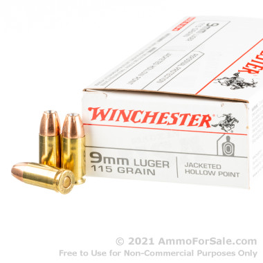 50 Rounds of 115gr JHP 9mm Ammo by Winchester USA