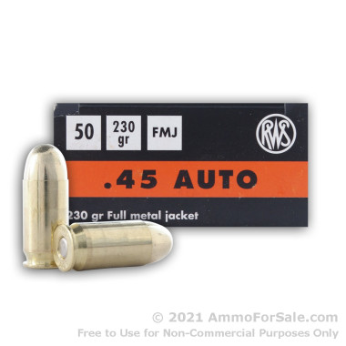 50 Rounds of 230gr FMJ .45 ACP Ammo by RWS