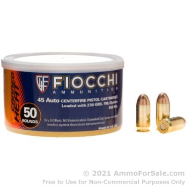 50 Rounds of 230gr FMJ .45 ACP Ammo by Fiocchi Canned Heat
