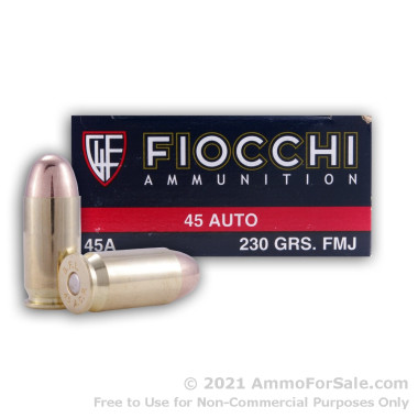 50 Rounds of 230gr FMJ .45 ACP Small Pistol Primer Ammo by Fiocchi