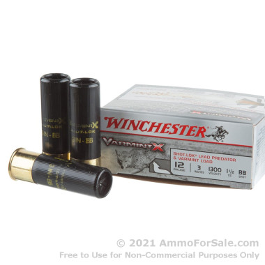 """100 Rounds of 3"""" 1 1/2 ounce BB Shot 12ga Ammo by Winchester Varmint-X"""