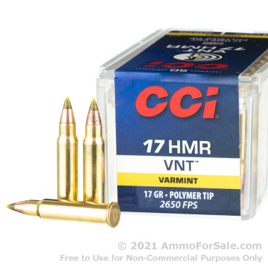 50 Rounds of 17gr VNT .17 HMR Ammo by CCI