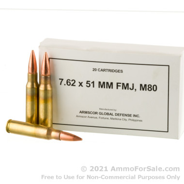 200 Rounds of 147gr FMJ M80 7.62x51 Ammo by Armscor