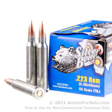500  Rounds of 55gr FMJ .223 Ammo by Silver Bear