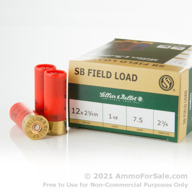 250 Rounds of 1 ounce #7 1/2 shot 12ga Ammo by Sellier & Bellot