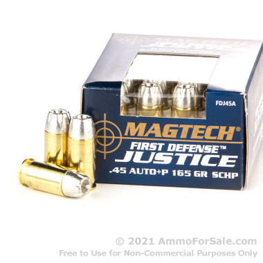 20 Rounds of 165gr SCHP .45 ACP +P Ammo by Magtech First Defense Justice