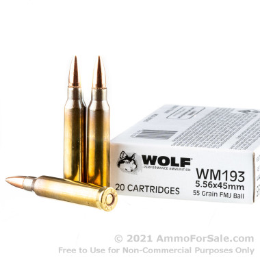 20 Rounds of 55gr FMJ 5.56x45 Ammo by Wolf Gold