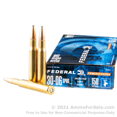 20 Rounds of 150gr SP 30-06 Springfield Ammo by Federal