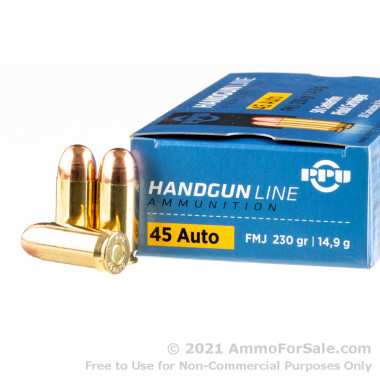 50 Rounds of 230gr FMJ .45 ACP Ammo by Prvi Partizan