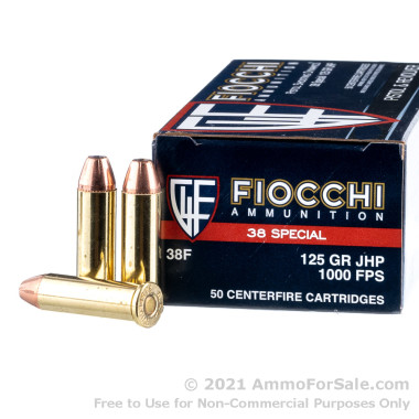 50 Rounds of 125gr SJHP .38 Spl Ammo by Fiocchi