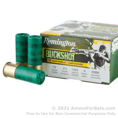 25 Rounds of  00 Buck 12ga Ammo by Remington