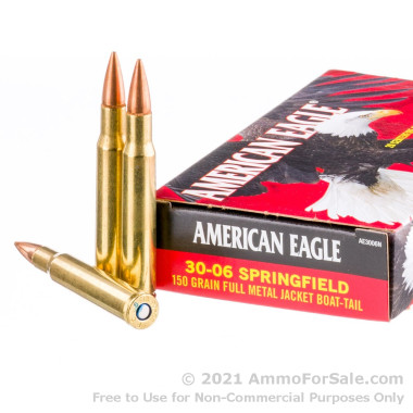 20 Rounds of 150gr FMJBT 30-06 Springfield Ammo by Federal